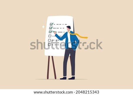 Completed checklist, finishing project tasks or work done conclusion, project management or process plan concept, smart businessman using pen to check on project list checkbox marked as completed.