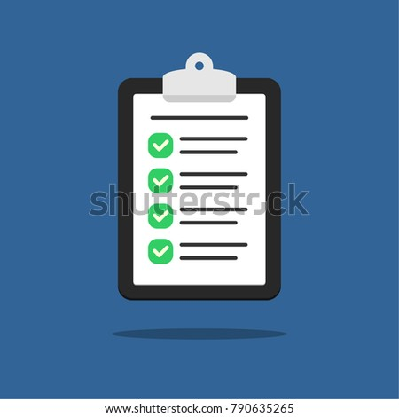 Completed checklist on clipboard. Vector illustration. Flat style.