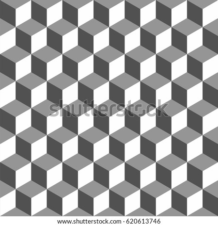 Completely seamless, abstract cube pattern. Black and white geometric 3d vector wallpaper, cube pattern background.