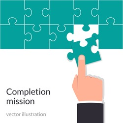 Completion mission concept. Businessman holding puzzle in hands putting in jigsaw. Vector illustration flat design. Isolated illustration.