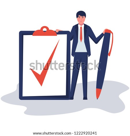 Completion task. Businessman wrote a mark on the completion of a big task. Vector illustration flat design. Isolated on white background. Checklist successfully completed. Red checkbox.