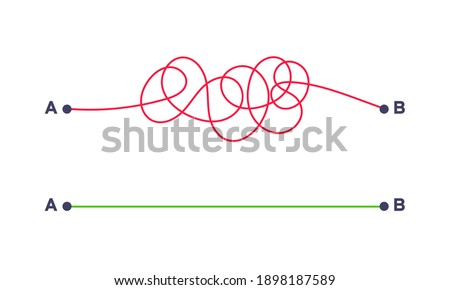 Complex and easy simple way from point A to B vector illustration. Chaos simplifying, problem solving and business solution searching challenge concept. Hand dwawn doodle scribble chaos path lines.