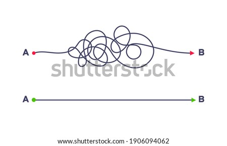 Complex and easy simple way from point A to B vector illustration. Chaos simplifying, problem solving and business solution searching challenge concept. Hand drawn doodle scribble chaos path lines. ストックフォト ©