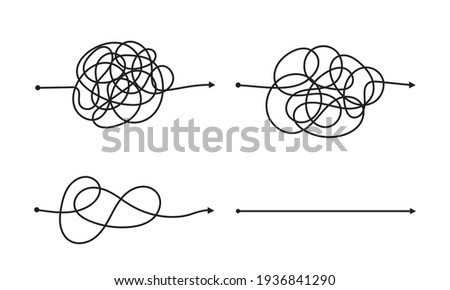 Complex and easy simple way from start to end vector illustration set. Photo stock ©