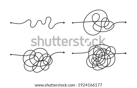 Complex and easy simple way from start to end vector illustration set. Chaos simplifying, problem solving and business solution searching challenge concept. Hand drawn doodle scribble chaos path lines Сток-фото ©