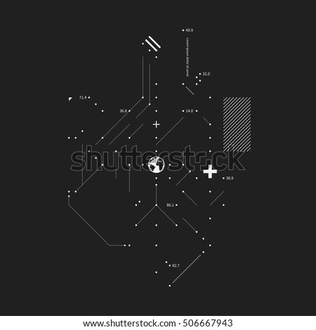 Complex design element in glitch style on black background. Useful for prints, posters and covers.