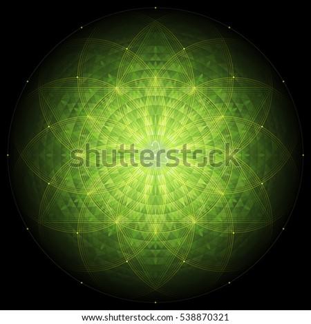 complex green geometric mandala on black background, sacred geometry, flower of life and atom, vector