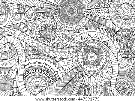 08eede7e0d Complex mandala movement design for adult coloring book and background