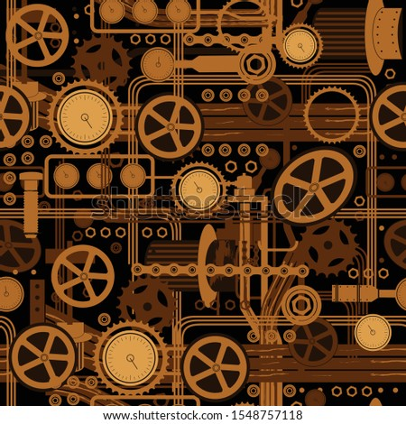 Complex mechanism, a seamless pattern consisComplex mechanismting of gears, belt, ventilation pipes, cranes and flashlights, and other mechanical elements. Submarine mechanism, space ship. Vector illu