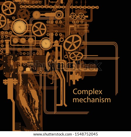 Complex mechanism consisting of gears, belt, ventilation pipes, cranes and flashlights, and other mechanical elements. Submarine mechanism. space ship. Vector illustration