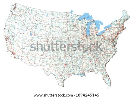 Complex USA road map with Interstates, U.S. Highways and main roads. Foto stock ©