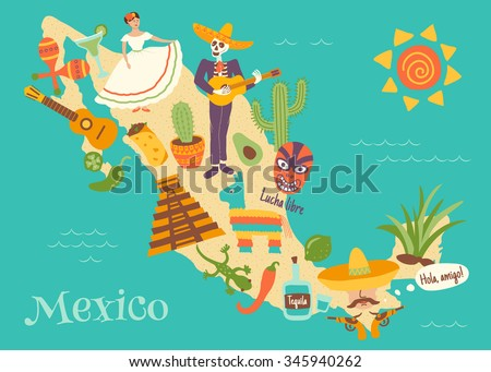 complex vector illustration of Mexico map with key mexican elements and spanish text Lucha libre translated as wrestling, and Hola, amigo which is translated as Hello friend