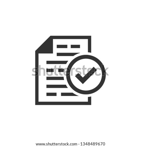 Compliance document icon in flat style. Approved process vector illustration on white isolated background. Checkmark business concept. #1348489670