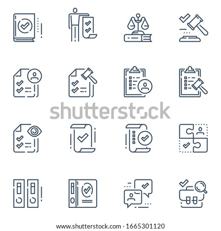 Compliance rules, regulatory concept, law gavel, standards and requirements, legal terms and conditions, vector line icon set Stock photo ©