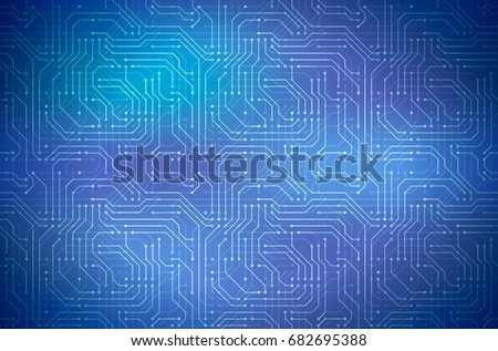 Complicated computer microchip on blue, abstract motherboard horizontal background