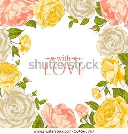 Complimentary of rose frame. Vector illustration.