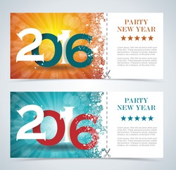 Complimentary ticket to a Christmas and New Year party, various vector design.