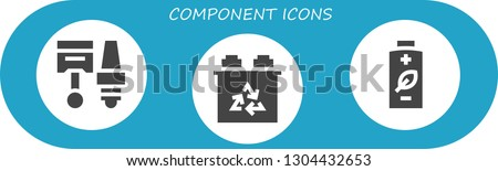 component icon set. 3 filled component icons.  Simple modern icons about  - Components, Battery