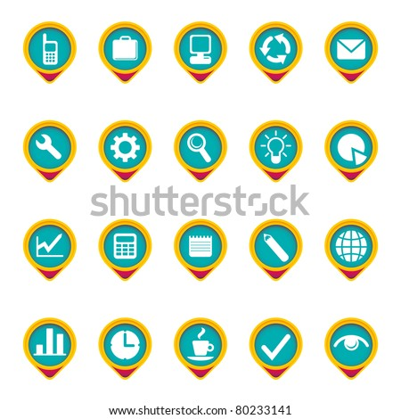 Composed icon set in color. Vector illustration.