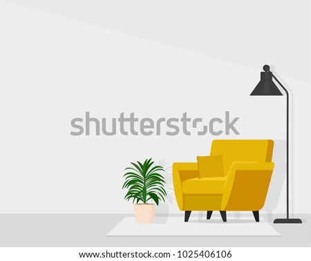 Composition chair with lamp and flower