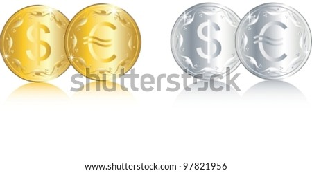 Composition from shining, bringing good luck, coins. Vector illustration. isolated on white background, CMYK, EPS8, all parts closed, possibility to edit.