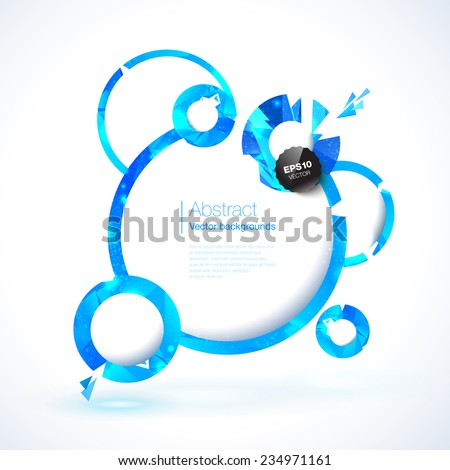 Composition of blue round frames and polygonal design elements.