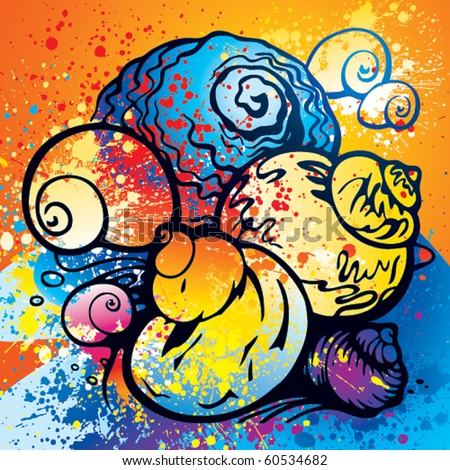 Composition of colorful abstract seashells on the beach with spray paint. Vector illustration.