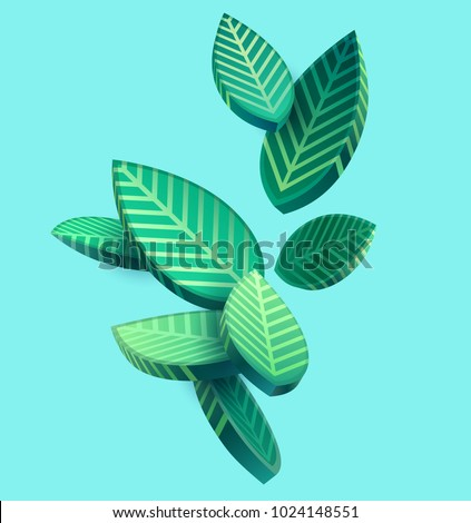 Composition of 3D stylized leaves  - Shutterstock ID 1024148551