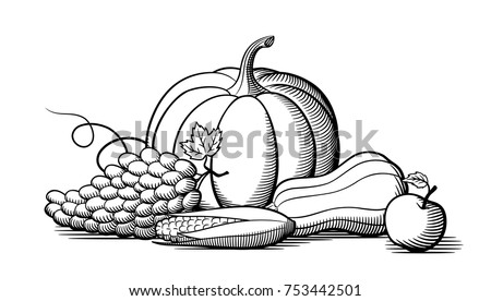 Composition Of Fresh Ripe Fruits And Vegetables Pumpkin Grapes Corn Butternut Squash