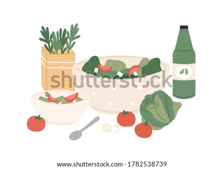 Composition of fresh vegetable salad and juice vector flat illustration. Chopped tomato, cabbage, cucumber and greenery in bowls for healthy nutrition isolated. Appetizing vegetarian lunch or dinner