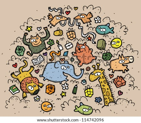 Composition of funny animals and objects: hand drawn vector illustration - stock vector