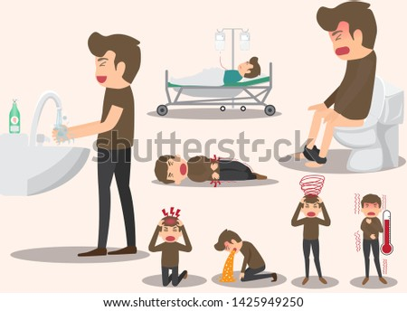 Composition of men with various illnesses Or various diseases. health concept character cartoon vector illustration.