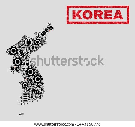 Composition of mosaic power supply Korea map and grunge stamps. Mosaic vector Korea map is designed with repair and electric symbols. Black and red colors used.