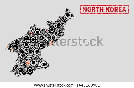 Composition of mosaic power supply North Korea map and grunge seals. Mosaic vector North Korea map is designed with repair and electricity icons. Black and red colors used.