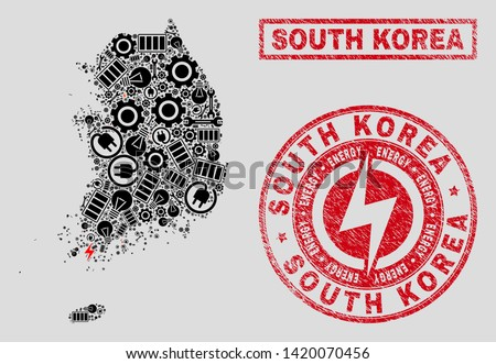 Composition of mosaic power supply South Korea map and grunge stamps. Mosaic vector South Korea map is composed with gear and electric symbols. Black and red colors used.