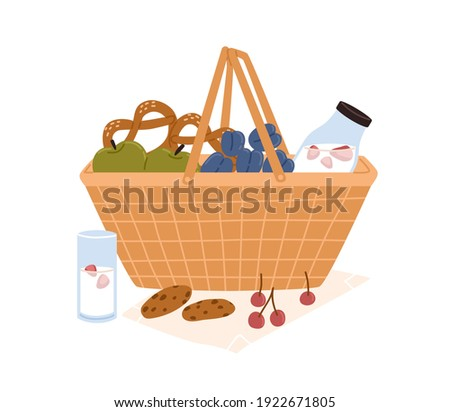 Composition of picnic basket with bottle of milk, fruits, berries, chocolate cookies and pretzels for outdoor romantic breakfast or lunch. Colored flat vector illustration isolated on white background Stockfoto ©
