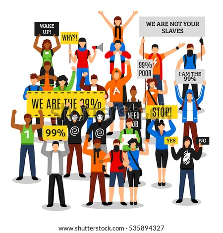 Shutterstock Composition of protesting crowd with colorful people characters faceless rioters holding various placards with editable text vector illustration
