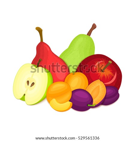 Composition of several plums, apples, pears and apricot. Ripe vector fruits whole and slice appetizing looking. Group of tasty fruits for design the packaging of juice breakfast, healthy eating, vegan