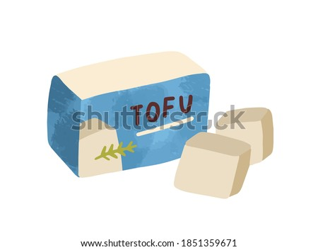 Composition of sliced tofu. Vegan organic soy cheese in package isolated on white background. Flat vector cartoon illustration of dairy bean curd. Traditional asian meal for vegetarians Сток-фото ©