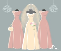 Composition of the three bride and bridesmaid wedding dresses,Bridal veil,bouquet,handbags and high heel shoes. Bridal shower.Fashion vector Illustration