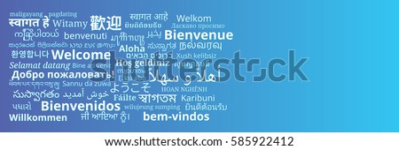 "Composition of ""Welcome"" messages in many different written languages white texts on blue background"