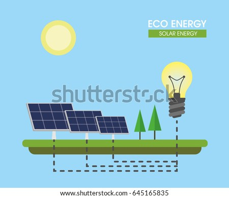 Composition on the topic of alternative energy. Solar panels. Vector illustration.