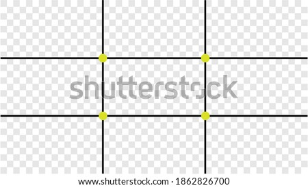 Composition Proportions guidelines set, attention spot of rule of thirds template in 16 by 9 ratio monitor display. Rule of thirds mockup on transparent background Stock photo ©