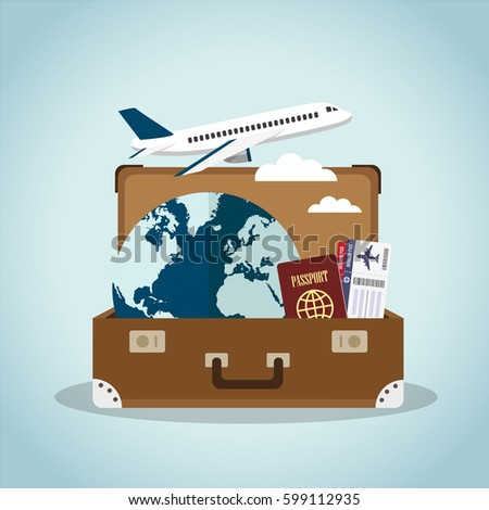 Composition with a open suitcase, passport, boarding pass, plane and the world. Holidays and travel concept. Vector illustration.