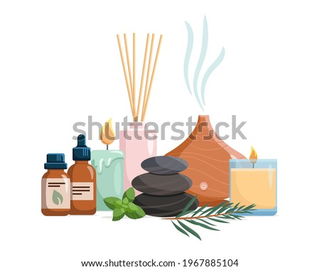Composition with aromatherapy accessories with essential oils. Aroma lamp, diffuser, essential oil, stones and aromatic flowers. Vector illustration on white background. Stock foto ©