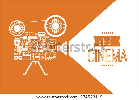 Composition with cinema decorative design elements. Cinema projector illustration for web, flyers, print design.