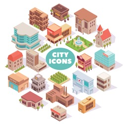 Composition with city isometric colourful images with modern buildings squares and gardens with text and shadows vector illustration