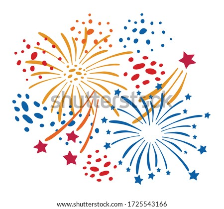 Composition with different cartoon fireworks. Hand drawn vector sketch illustration