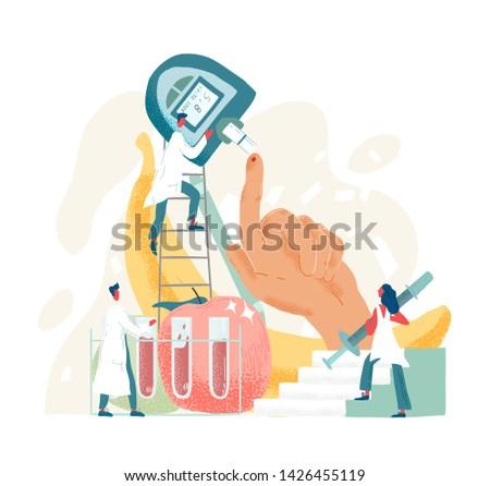 Composition with doctors or physicians holding fingerstick or fingerprick blood tester. Medical device for glucose testing or sugar level check. Laboratory service. Modern flat vector illustration.