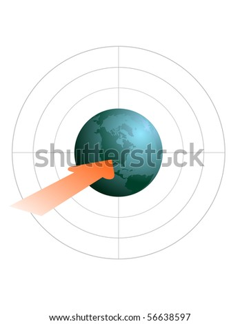 Composition with globe against a target